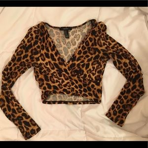 Forever 21 Leopard Print Long Sleeve Crop Top